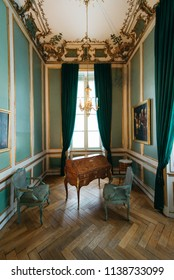 MUNICH, GERMANY, JUNE 26, 2018: Inside Nymphenburg castle in Munich, Germany. The palace is the main summer residence of the former rulers of Bavaria.