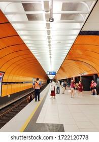 Munich, Germany - June 28, 2019 : Interior Space of Marienplatz U Bahn Station, Marienplatz is an important stop on the Munich S-Bahn and U-Bahn network. Munich subway station modern design