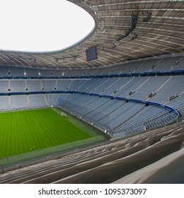 MUNICH, GERMANY - JUNE 28: Allianz Arena football stadium on June 28, 2015 in Munich, Germany. The stadium has capacity for almost 70.000 spectators, making it the third largest stadium in Germany