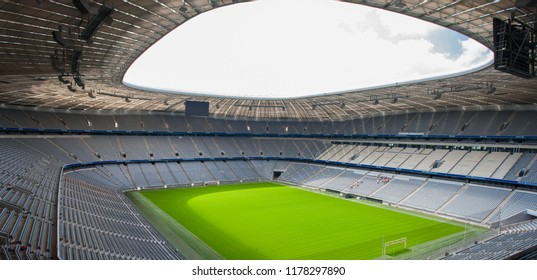 MUNICH, GERMANY - JUNE 28: Allianz Arena football stadium on June 28, 2015 in Munich, Germany. The stadium has capacity for almost 70.000 spectators, making it the third largest stadium in Germany.