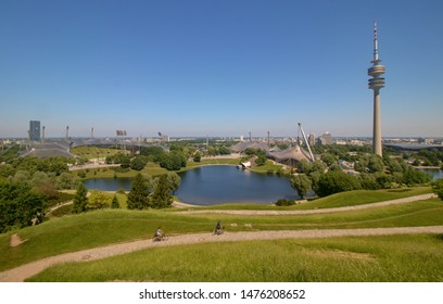 MUNICH, GERMANY - June 7, 2019: The Olympiapark in Munich, Germany, is an Olympic Park which was constructed for the 1972 Summer Olympics.