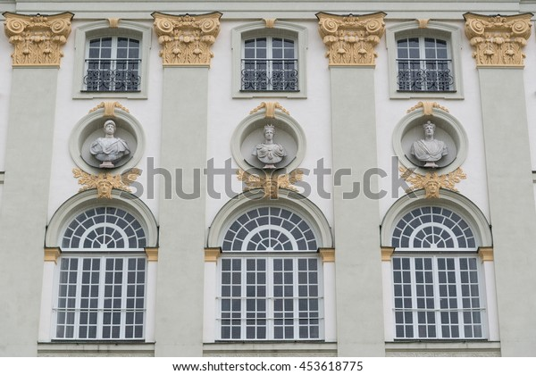 MUNICH, GERMANY - JUNE 8, 2016: Facade of the Nymphenburg Palace (Castle of the Nymphs). Munich, Bavaria, Germany. The palace is the main summer residence of the former rulers of Bavaria.