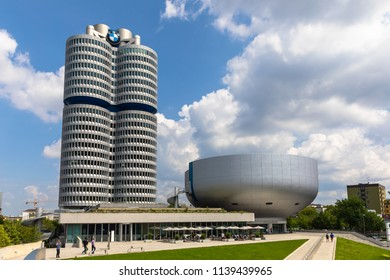 Munich, Germany - June 9, 2018 - Exterior view of the office building and the museum of BMW (Bayerische Motoren Werke),  a famous automobile and motorcycle manufacturer in Germany