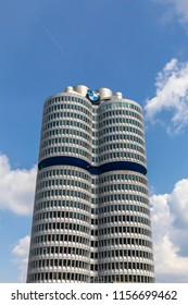 Munich, Germany - June 9, 2018 - Close view of the office building of BMW (Bayerische Motoren Werke),  a famous automobile and motorcycle manufacturer in Germany