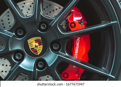 MUNICH, GERMANY - Mar 01, 2020: Close up of a Porsche tire. Concept for a luxurious supercar. German engineering.