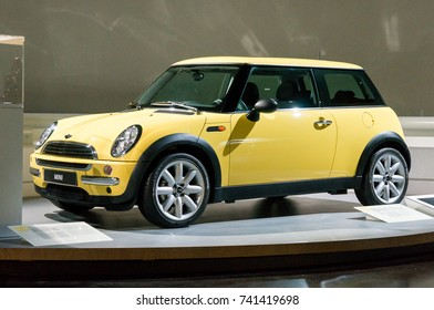 Munich, Germany - March 10, 2016: Mini cooper at the BMW Welt, a customer experience and exhibition facility of the BMW AG, Munich, Germany