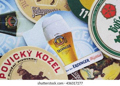 MUNICH, GERMANY - MARCH 15, 2015: Beermat of German weiss beer Erdinger.