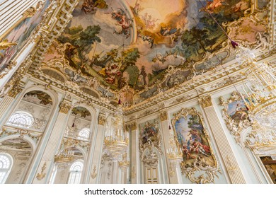 MUNICH, GERMANY, MARCH 17, 2018: The Nymphenburg castle in Munich, Germany. It owes its foundation as a summer residence to the birth of the heir to the throne, Max Emanuel, born in 1662.