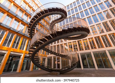 MUNICH, GERMANY - March 26 2016: Endless Stairway in KPMG Building in Munich designed by Olafur Eliasson