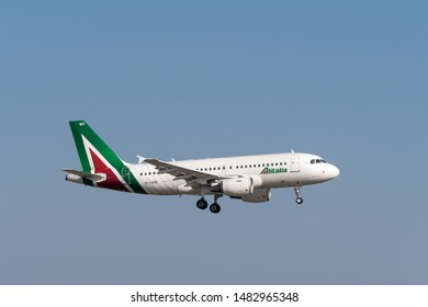 Munich, Germany - March 31. 2019 : Alitalia Airbus A319-112 with the aircraft registration EI-IMD in the approach to the southern runway 08R of the Munich Airport MUC EDDM