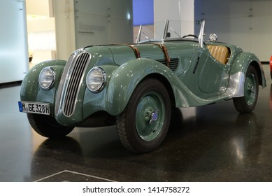 MUNICH, GERMANY - MARCH 5, 2016: BMW 328 classic German 1930s sport roadster car in the BMW Museum