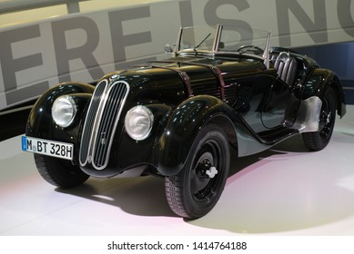 MUNICH, GERMANY - MARCH 5, 2016: BMW 328 classic retro pre-war German sport 1930s car roadster in the BMW Museum