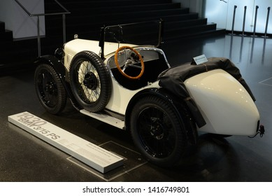 MUNICH, GERMANY - MARCH 5, 2016: BMW 3/15 PS classic retro ancient German 1930s two-seater car in the BMW Museum