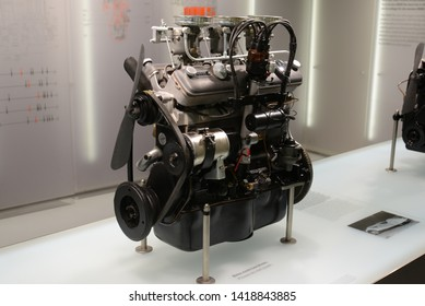 MUNICH, GERMANY - MARCH 5, 2016: BMW M328 1930s engine motor in the BMW Museum