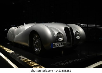 MUNICH, GERMANY - MARCH 5, 2016: BMW 328 1939 classic German rase sport 1930s fast winner car in the BMW Museum