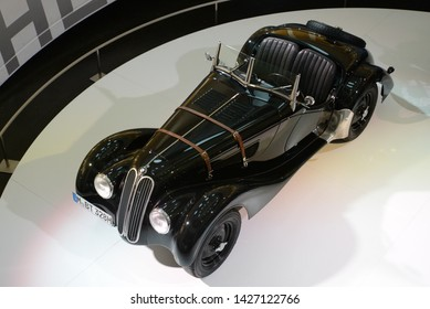 MUNICH, GERMANY - MARCH 5, 2016: BMW 328 classic German pre-war open roof roadster 1930s car in the BMW Museum