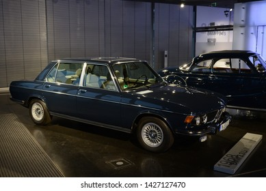 MUNICH, GERMANY - MARCH 5, 2016: BMW 3.3 Li E3 classic German luxury fast executive 1970s car in the BMW Museum