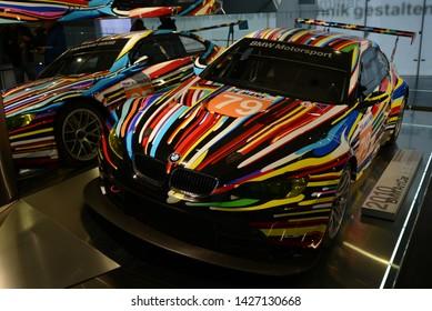 MUNICH, GERMANY - MARCH 5, 2016: BMW M3 GT2 Jeff Koons ArtCar 2010 in the BMW Museum