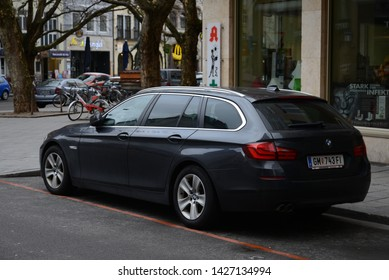 MUNICH, GERMANY - MARCH 6, 2016: BMW 5 Series F11 Touring luxury executive estate station wagon German 2000s car pictured on the city street