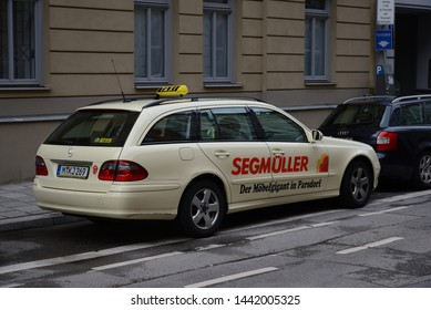 MUNICH, GERMANY - MARCH 6, 2016: Mercedes-Benz E-Class Estate Taxi car on the city street