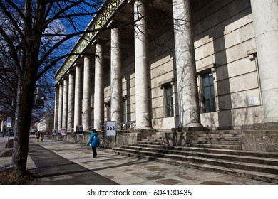 MUNICH, GERMANY - MARCH 7, 2017 Munich, architectural detail of the colonnade of  Haus der Kunst now modern art museum, built in 1933 as monumental structure in Nazi architecture style