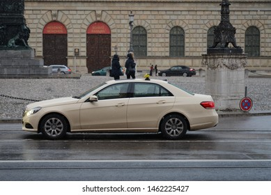 MUNICH, GERMANY - MARCH 8, 2016: Mercedes-Benz E-Class Taxi W212 classic German luxury executive midsize car on the Munich city center street