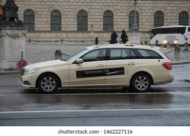 MUNICH, GERMANY - MARCH 8, 2016: Mercedes-Benz E-Class Taxi S212 classic German luxury executive midsize estate station wagon car in the Munich city centre street
