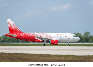 Munich, Germany - May 02. 2019 : Rossiya - Russian Airlines Airbus A319-114 with the aircraft registration number VP-BIU is taxiing for take off on the northern runway 26R of Munich Airport MUC EDDM