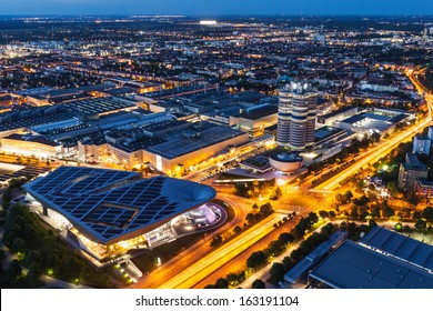 MUNICH, GERMANY - MAY 11: Aerial view of BMW Museum and Welt and factory and Munich from Olympic Tower in evening on May 11, 2012 in Munich, Bavaria, Germany. BMW is famous German luxury car automaker