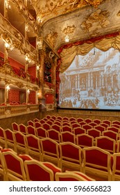 MUNICH, GERMANY- MAY 16, 2016: Cuvillies Theater- baroque, rococo opera house, part of Munich Palace (Residenz)