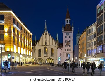 MUNICH, GERMANY - MAY 17, 2017: Old Town Hall (Altes Rathaus) in dusk. The building was documented for the first time in 1310. It was re-designed in late-gothic style by Jorg von Halsbach in 1470-1480