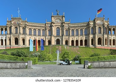 MUNICH, GERMANY - MAY 17, 2017: The Maximilianeum. It was started in 1857 according to design of Friedrich Burklein, and completed in 1874. Since 1949, the Maximilianeum houses the Bavarian Landtag.