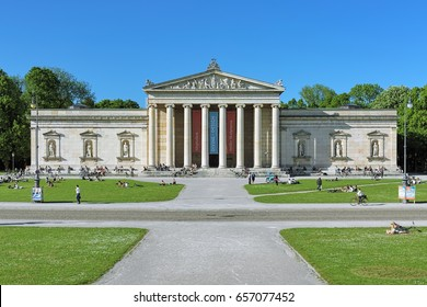 MUNICH, GERMANY - MAY 17, 2017: Glyptothek - the museum, which was commissioned by King Ludwig I of Bavaria to house his collection of Greek and Roman sculptures. The building was built in 1816-1830.