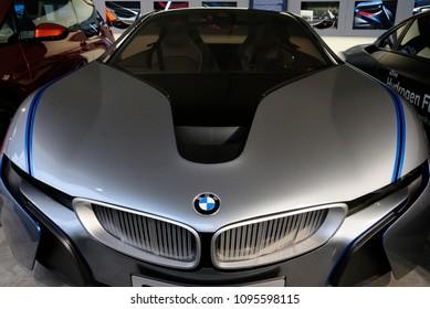 Munich, Germany - May 19, 2018 - BMW i8 Skyfall car at the BMW Museum in Munich