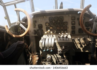 MUNICH, GERMANY - MAY 19, 2019 - the cockpit of the historical aircraft  Lufthansa Ju 52 of the year 1937 from Pamir to China on display and open to the visitors at the Munich Airport visitor park