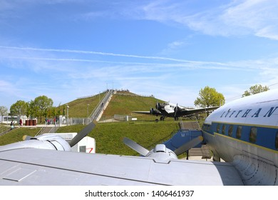 MUNICH, GERMANY - MAY 19, 2019 View of the Munich Airport visitor park: the visitor observation hill and the historical aircrafts to visit