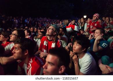 MUNICH, GERMANY - MAY 19: FC Bayern Muenchen supporters at public viewing before UEFA Champions League Final between FC Bayern Muenchen and Chelsea FC on May 19, 2012 in Munich, Germany