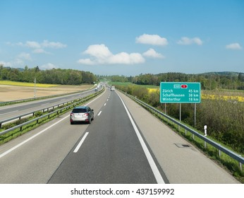 Munich, Germany - MAY 2016 : The Autobahn is the federal controlled-access highway system in Germany. German autobahns have no federally mandated speed limit for some classes of vehicles