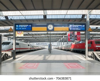 Munich, Germany - MAY 2016 : Munchen Hauptbahnhof is the main railway station in the city of Munich, Germany. The station sees about 450,000 passengers a day.