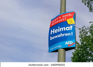 Munich, Germany - May, 2019: EU elections campaign of Alternative for Germany party. AFD is the largest opposition party in Bundestag. German nationalist, right-wing populist and Eurosceptic party.