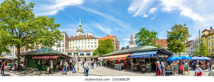 Munich, Germany - may 22: View of Viktualienmarkt a sunny day. It is a daily food market and a square in the center of Munich near Marienplatz on may 22, 2018