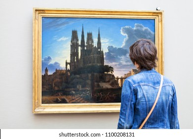 MUNICH, GERMANY - MAY 23, 2018: visitor in Pinakothek der Moderne in Munich city. The New Pinakothek is art museum for modern and contemporary art
