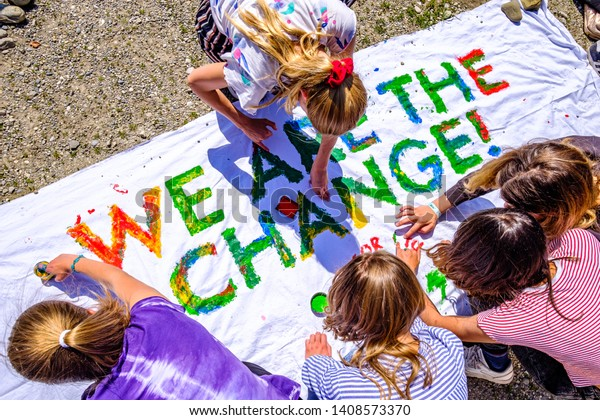 """Munich, Germany - May 24: """"Fridays for Future"""" protest - Participants protesting against climate policy every Friday in Munich on the Theresienhohe on May 24,2019"""