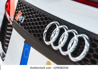 MUNICH, GERMANY - MAY 27th 2018: Closeup on model logo of an Audi R8.