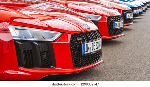 MUNICH, GERMANY - MAY 27th 2018:  A group of Audi R8 sports cars line up in the Munich Airport.