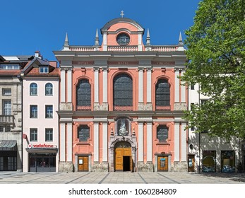 MUNICH, GERMANY - MAY 28, 2017: Burgersaal Church (Burgersaalkirche). Burgersaal was built in 1709-1710 by Giovanni Antonio Viscardi as a prayer and assembly hall. Since 1778 it is used as a church.