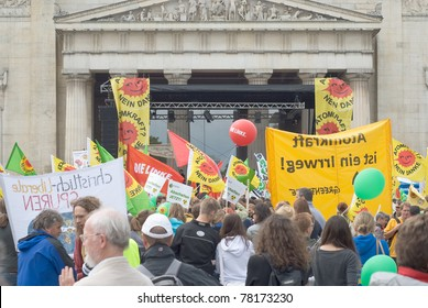 MUNICH, GERMANY - MAY 28: Protesters at the 'Anti Atomic Energy' rally, which was held at the Koenigsplatz in central Munich. May 28, 2011 in Munich, Germany