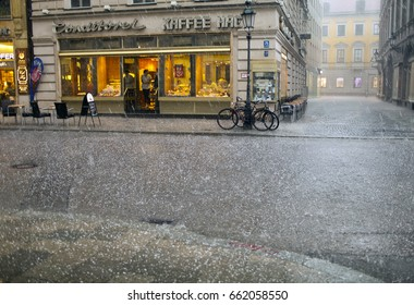 MUNICH, GERMANY - May 29, 2012: hail and heavy rain in the city