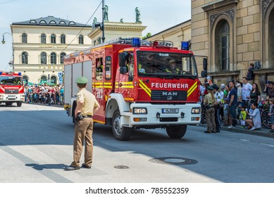 Munich, Germany - May 29, 2016: Munich saw the biggest fire truck parade the world has ever seen and tens of thousands came out to see the parade (150 years since the founding of the Fire Brigade).