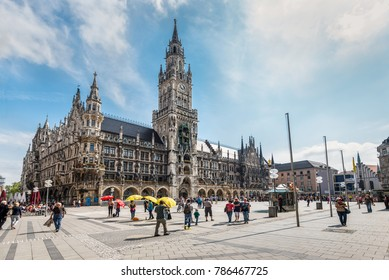 Munich, Germany - May 29, 2016: The Marienplatz is a central square in the city centre of Munich, Germany. It has been the city's main square since 1158.